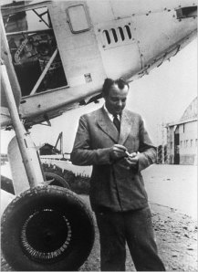 Antoine St E with airplane