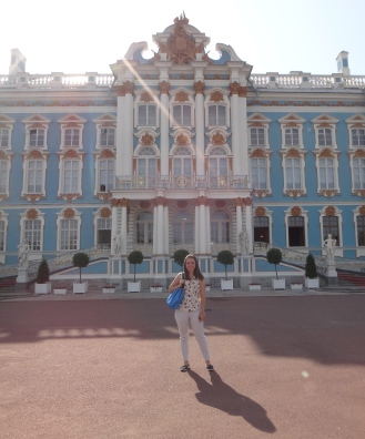 Sara K in front of Catherine's Palace in Russia