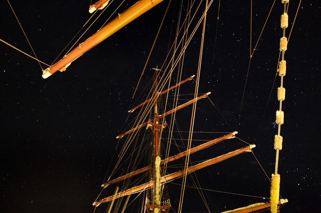 Sea Cloud II masts at night by Daniel Kukla