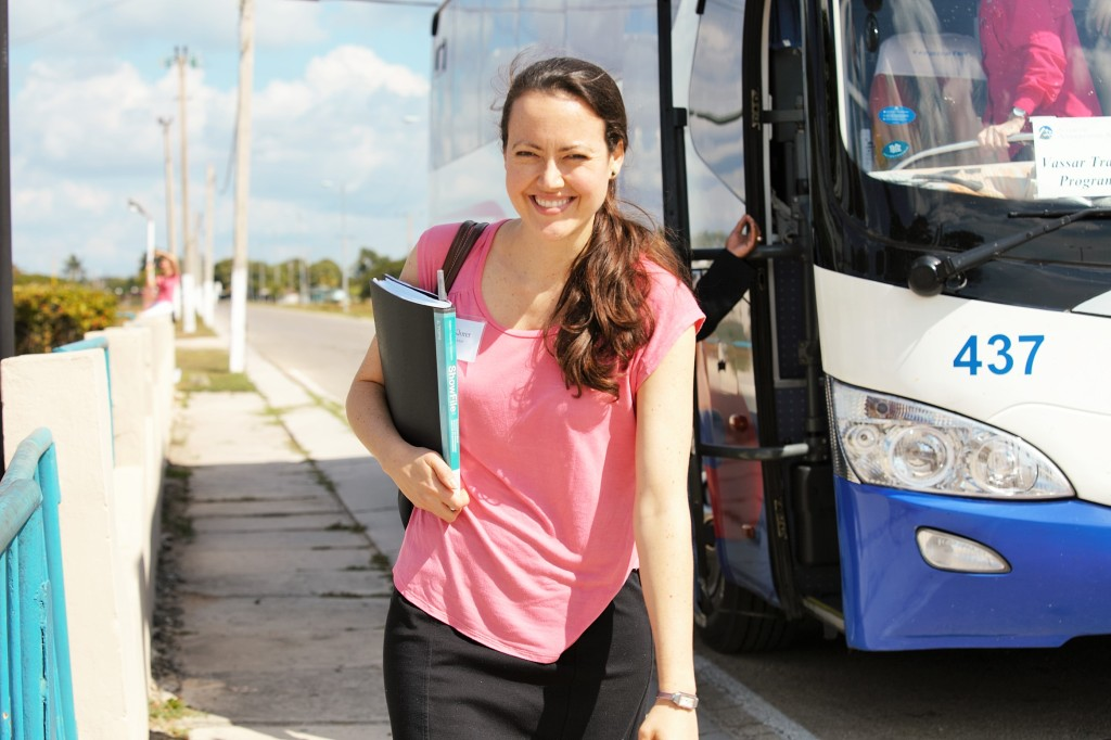 Kate Klorer with tour bus