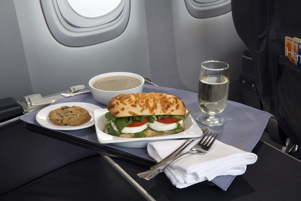 United Airlines Caprese sandwich