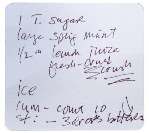 Mojito recipe on napkin