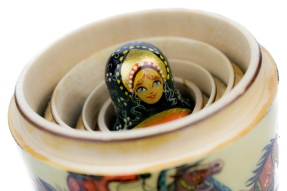 Matryoshka - Russian nesting doll on white