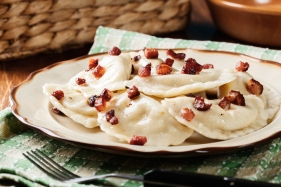 Dumplings with meat or cabbage and mushroom or cheese seasoned fried bacon